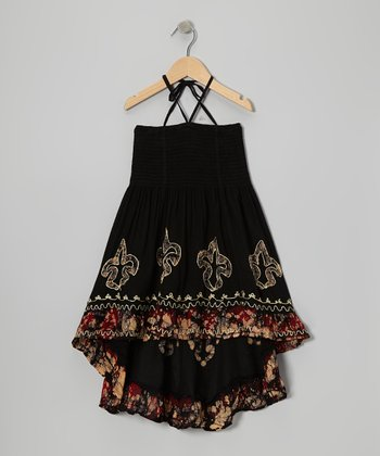 Black & Red Fleur-de-Lis Convertible Dress - Girls