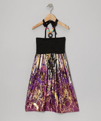 Purple Floral Convertible Halter Dress - Girls