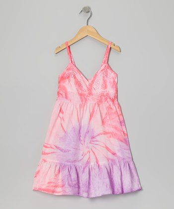 Neon Pink & Purple Tie-Dye Dress - Girls
