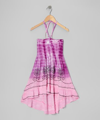 Purple Tie-Dye Convertible Halter Dress - Girls