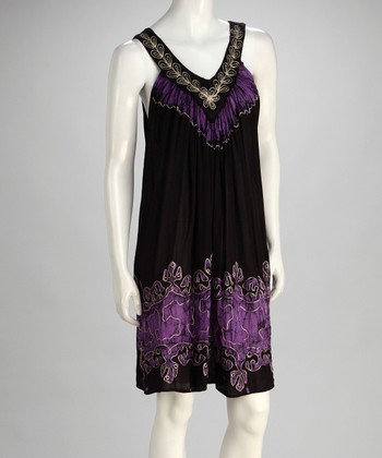 Black & Purple Boho V-Neck Dress - Women
