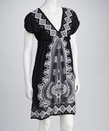 Black & Gray V-Neck Dress - Women