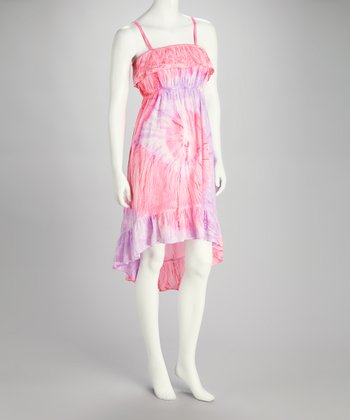 Pink & Purple Tie-Dye Hi-Low Dress - Women