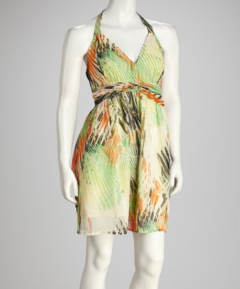 Green & Orange Halter Dress