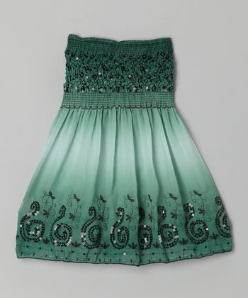 Green Swirl Convertible Dress - Girls