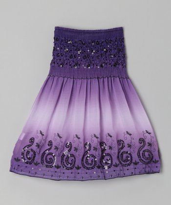 Purple Swirl Convertible Dress - Girls