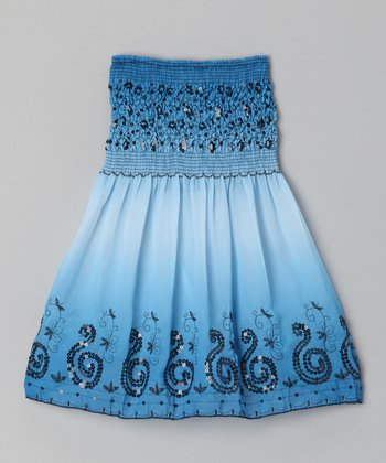 Blue Swirl Convertible Dress