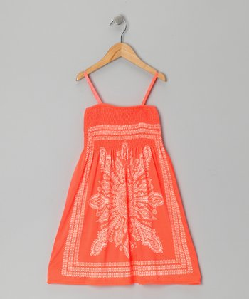 Orange Paisley Convertible Dress - Girls