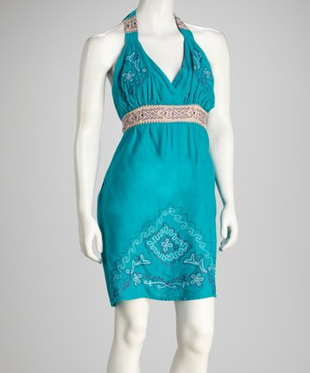 Turquoise Embroidered Halter Dress