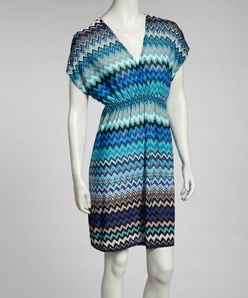 Blue & Pink Zigzag Dolman Dress - Women