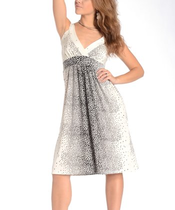 White & Black Splatter Surplice Dress