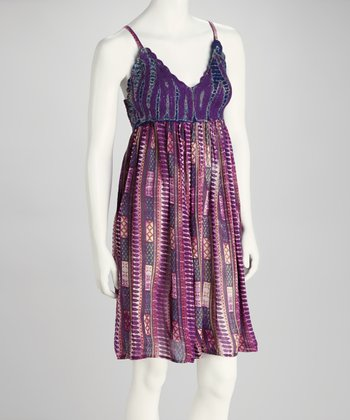 Purple Crocheted V-Neck Dress - Women