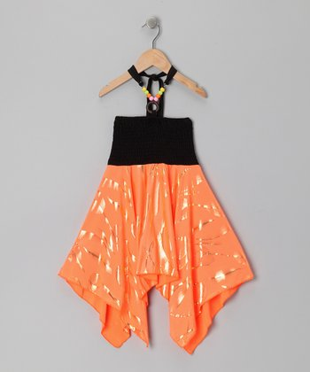 Neon Orange Foil Sidetail Dress