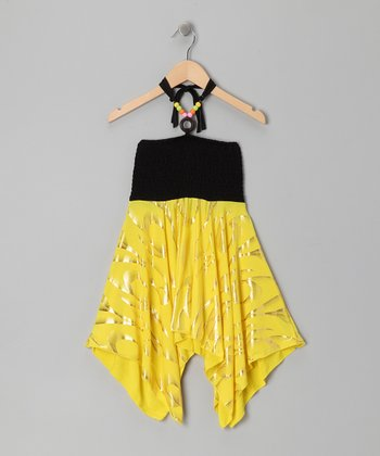 Neon Yellow Foil Sidetail Halter Dress - Girls
