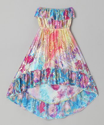 Blue Floral Watercolor Hi-Low Dress - Girls
