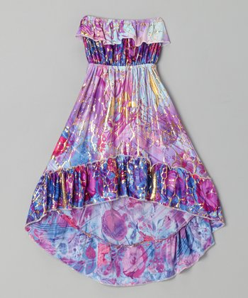 Purple Floral Watercolor Hi-Low Dress - Girls