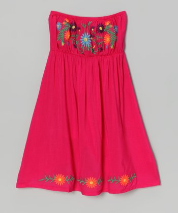 Pink Embroidered Convertible Dress - Girls