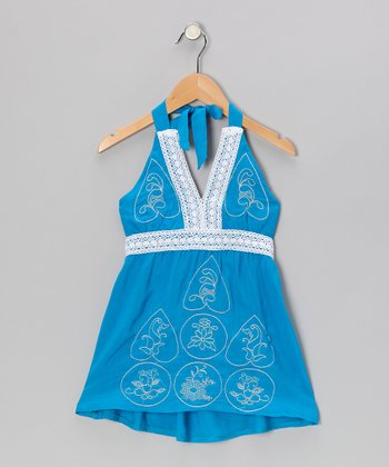 Blue Eyelet Halter Dress - Girls