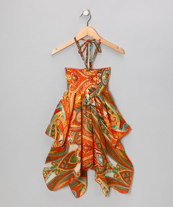 Orange Paisley Chiffon Convertible Dress - Girls