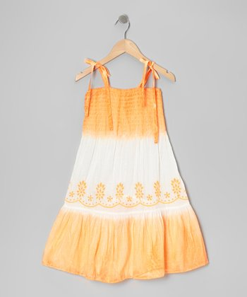 Orange Color Block Tie-Dye Dress - Girls