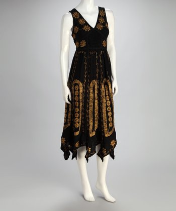 Black & Gold Embroidered Daisy Maxi Dress - Women