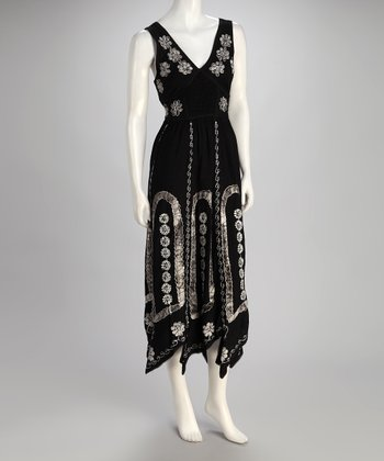 Black & White Embroidered Daisy Maxi Dress - Women