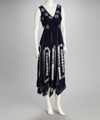 Navy Embroidered Daisy Maxi Dress - Women