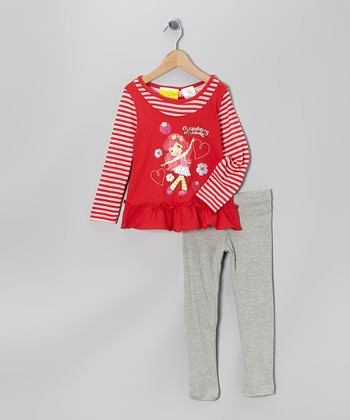 Red & Gray Strawberry Shortcake Tunic & Leggings - Girls