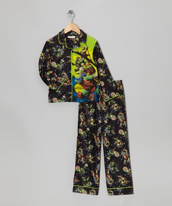 Yellow & Black TMNT Mania Pajama Set - Boys
