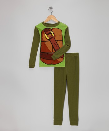 Dark Green Teenage Mutant Ninja Turtles Pajama Set - Boys