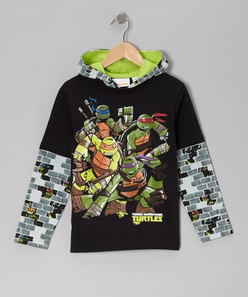 Black Teenage Mutant Ninja Turtles Hooded Layered Tee