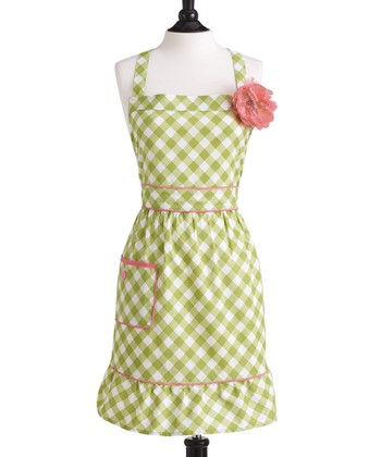 Meadow Green Gingham Courtney Apron - Women