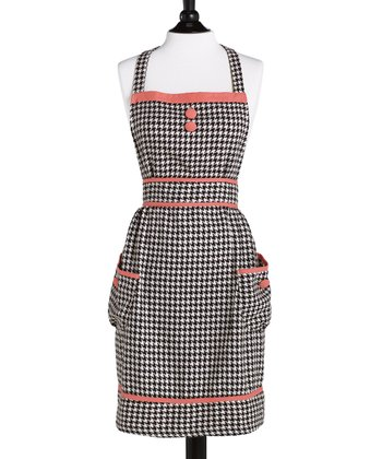 Brown & Cream Houndstooth Doris Bib Apron - Women