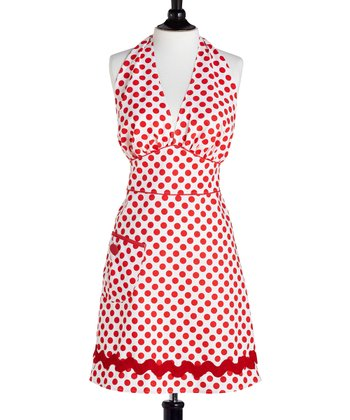 White & Red Polka Dot Bombshell Apron - Women