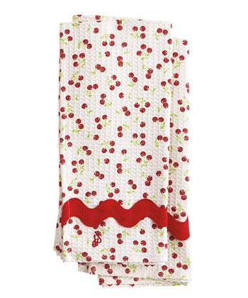 Cherries Waffle Towel - Set of Two