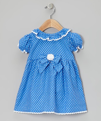 Royal Blue Bow Corduroy Dress - Infant