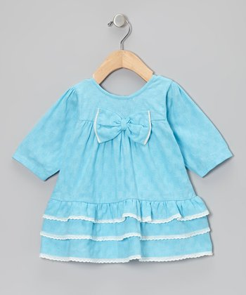 Aqua Bow Dress - Infant & Toddler