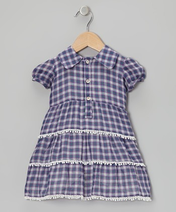 Lavender Plaid Tier Ruffle Dress - Infant & Toddler