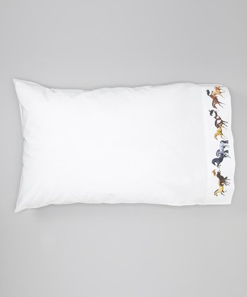 White Lila Galloping Horses Pillow Sham