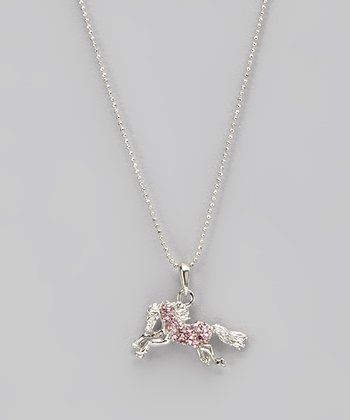 Pink Rhinestone Running Horse Necklace