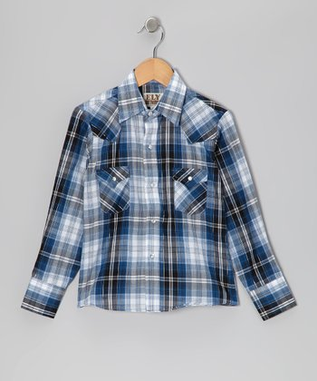 Blue Plaid Western Button-Up - Boys