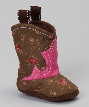 Brown & Pink Rose Cowboy Bootie
