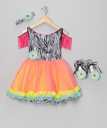 Orange Tribal Love Dress-Up Set - Girls