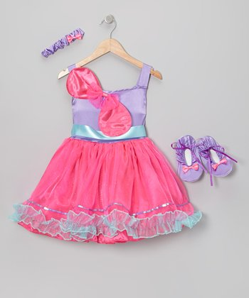 Pink & Purple Bow Beauty Dress-Up Set - Girls