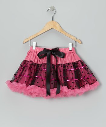 Pink & Black Flocked Heart Pettiskirt