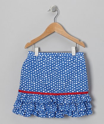 Blue Polka Dot Ruffle Skirt - Toddler & Girls