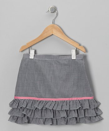 Black Gingham Ruffle Skirt - Toddler & Girls