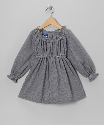 Black Gingham Peasant Top - Toddler