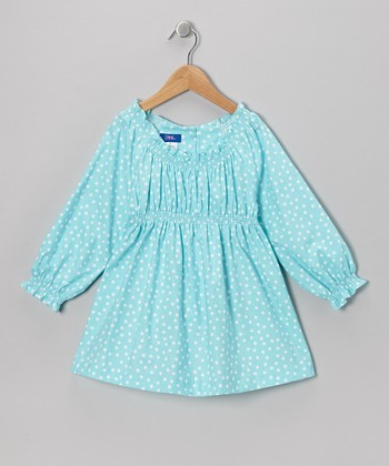 Aqua & White Polka Dot Peasant Top - Toddler & Girls