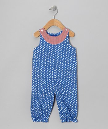 Royal Blue & White Polka Dot Bubble Playsuit - Infant